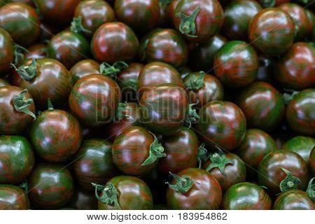 Green Kumato Cherry Tomatoes Background Pattern