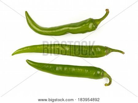 Green Fresh Jalapeno Peppers Close Up On White
