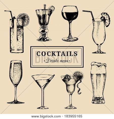 Cocktails menu. Hand sketched alcoholic beverages glasses. Vector set of drinks illustrations, beer, pina colada, margarita, red wine, mojito, vodkatini, champagne etc isolated.