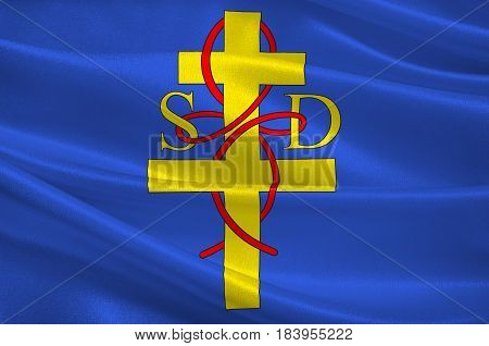 Flag of Saint-Die-des-Vosges commonly referred to as Saint-Die is a commune in the Vosges department in Grand Est in northeastern France. 3D illustration