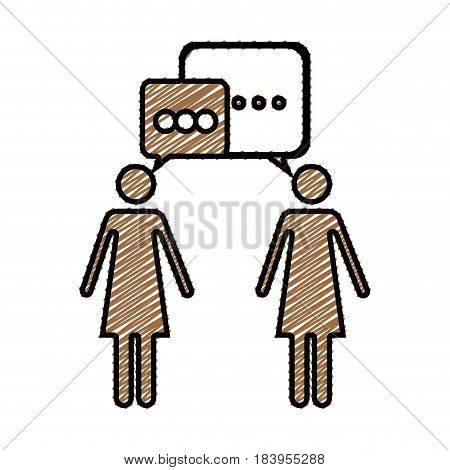color pencil drawing silhouette of pictogram women's dialogue vector illustration