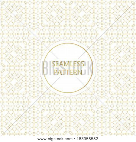 Golden seamless pattern on white background islamic oriental eastern style.Template with luxury foil for packaging fashion greetings cover wedding. Vector illustration