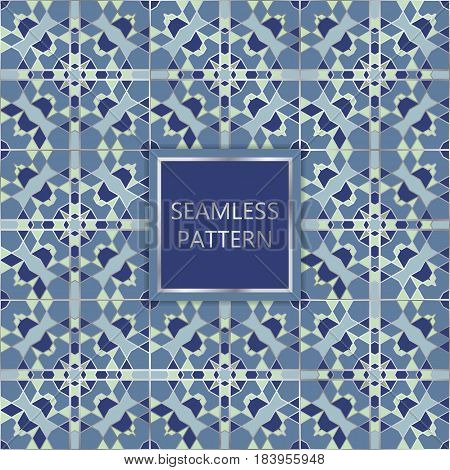 Blue seamless pattern with silver inserts. Ornamental mosaic vector background. Suitable for textile tile slab fashion stained-glass window vitrage.