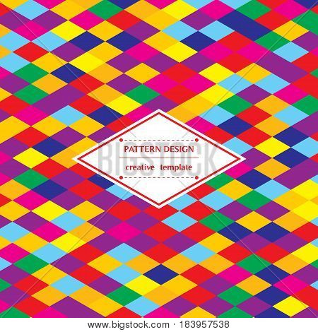 Square bright background with colorful gradient rhombs. Vector pattern template for flyer card brochure cover textile tile etc.