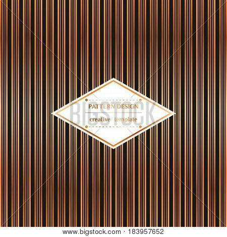 Square pattern with golden stripes on black background. Vector template for flyer card brochure cover textile tile etc.