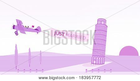 Just married - wedding. Bridal couple in biplane with leaning tower in the Italian landscape. Purple and pink shade.