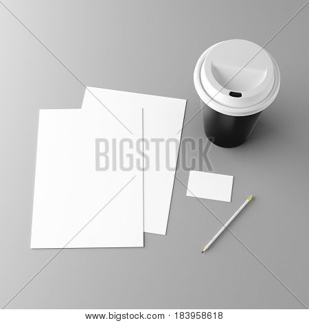 Corporate stationery set mockup. Blank white brand ID elements, paper sheets, card, pencil and coffee cup. Angled top view. 3D rendering.