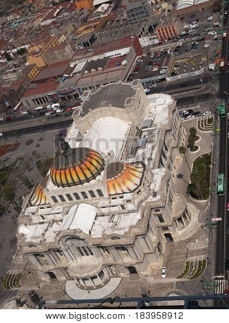Aerial view of Palace of Fine Arts, Mexico City