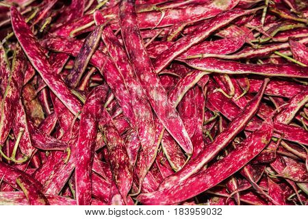 Slender red beans (haricot) close up background