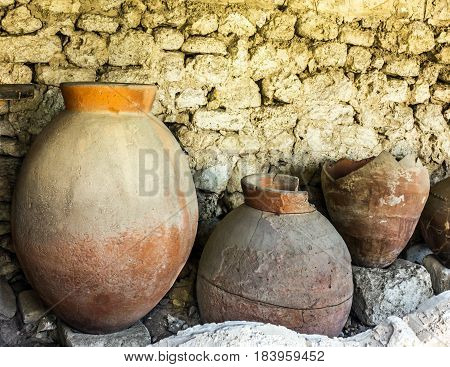 Ancient clay pots excavations into Greek city ruins