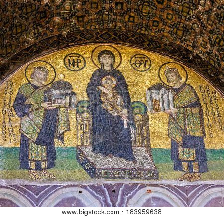 ISTANBUL, TURKEY - APRIL 4, 2017: Virgin Mary and Saints icon in Hagia Sophia is the greatest monument of Byzantine Culture.