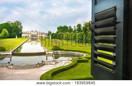 Villa Pisani promenade view from a window venice italy brenta riviera veneto villas