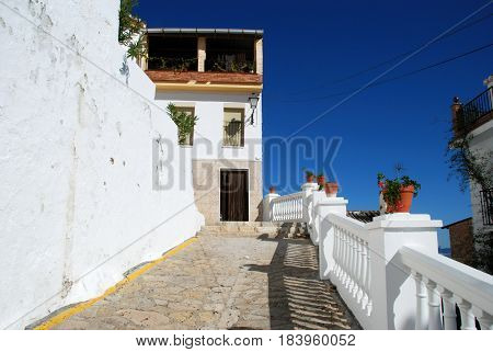 Townhouse along a steep village street Alozaina Malaga Province Andalusia Spain Western Europe.