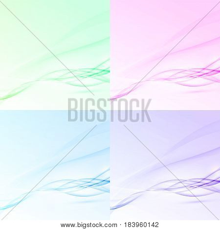 Bright abstract swoosh wave layout collection with set of cards in different color. Futuristic speed stream line concept. Vector illustration