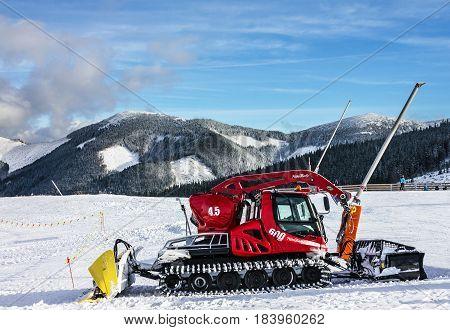 Jasna, Slovakia - Jan 3, 2017: Snowplow in winter resort Jasna