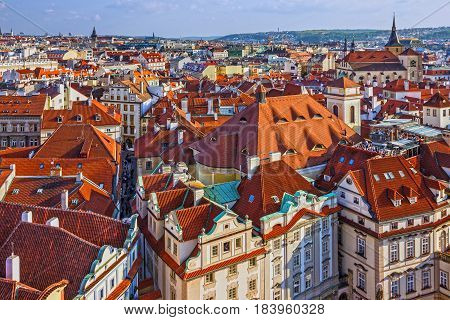 Prague houses roofs, Czech Republic. Aerial view on Old Town Square