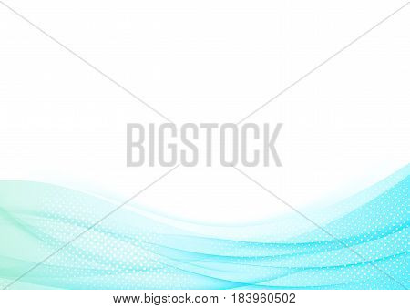 Soft color abstract blue background. Nice swoosh wave dotted in white particle dynamic line. Vector illustration