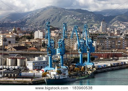 Palermo, Sicilia - April 13, 2017: Industrial port of Palermo, Italy