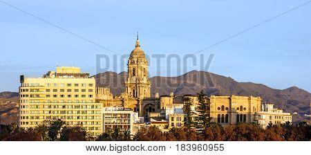 Malaga Cathedral church city panoramic view Spain