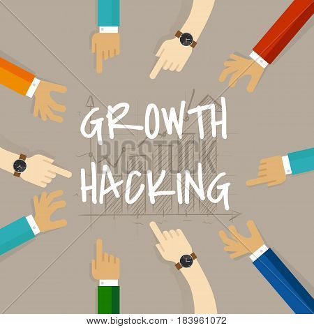 growth hacking business method concept of using their knowledge of product and distribution, find ingenious, technology-based solution vector