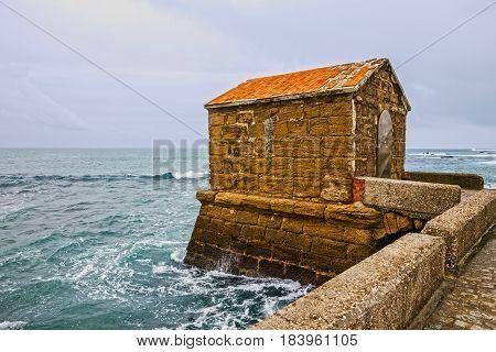 Cadiz seascape Spain. Road to Castle of San Sebastian