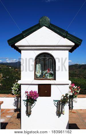 Small shrine on the roadside Casarabonela Malaga Province Andalusia Spain Western Europe.