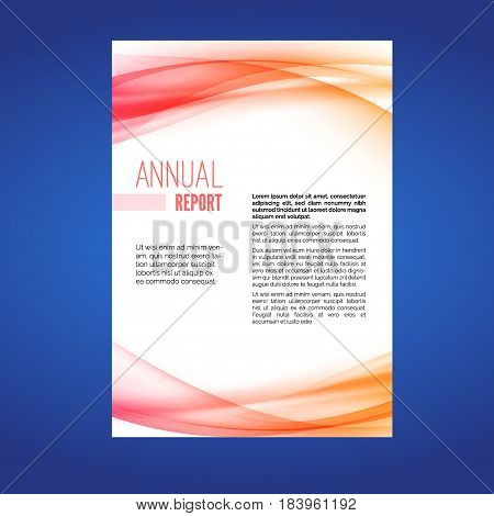 Beautiful business annual report swoosh wave layout template. Vector illustration