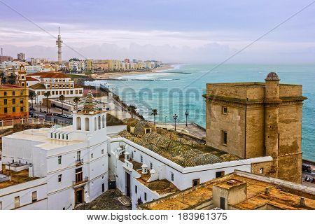Cadiz town panoramic landscape view architecture, Spain
