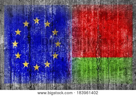 EU and Belarus flag on concrete wall