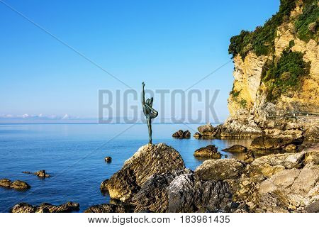 Budva, Montenegro - April 4, 2017: Gymnast statue on seaside of Budva, Montenegro