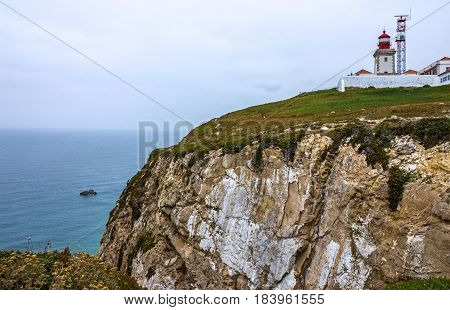 Cabo da Roca Lighthouse Portugal. Most western point of Europe mainland.