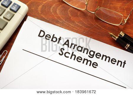 Document with title Debt Arrangement Scheme (DAS).