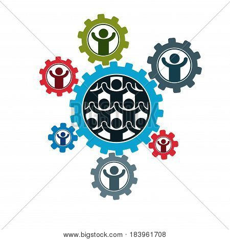 Society and Person interaction creative logo unique vector symbol created with different icons. System and social Matrix sign. Person and society interacts with each other.