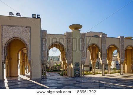 Casablanca Morocco. Mosque Hassan II arcade gallery