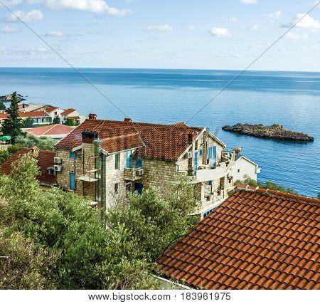 Houses in summer sea resort Budva, Montenegro