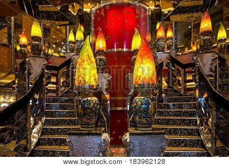 Cruise liner Costa Mediterranea - April 4, 2017: Modern interior night club Cruise liner Costa Mediterranea