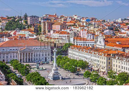 Lisbon Rossio square (Praca de Rossio), Portugal