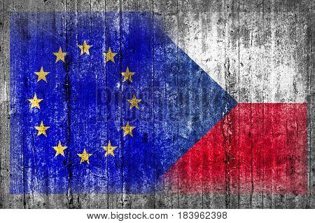 EU and Czech Republic flag on concrete wall