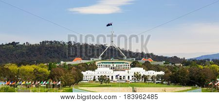 Parliament House, Canberra, Australia, where politicians gather to debate