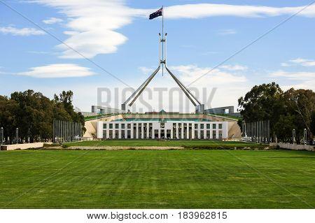 Parliament House, Canberra, Australia, where politicians meet to debate