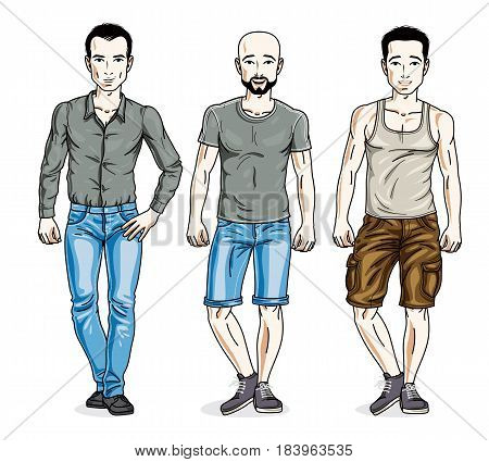 Handsome Young Men Posing Wearing Casual Clothes. Vector Set Of Beautiful People Illustrations.