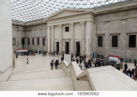 LONDON, GREAT BRITAIN - MAY 9, 2014: This is a courtyard of the British Museum covered with a mesh glass cover.
