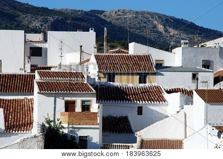 Whitewashed townhouses in the village El Burgo Malaga Province Andalusia Spain Western Europe.