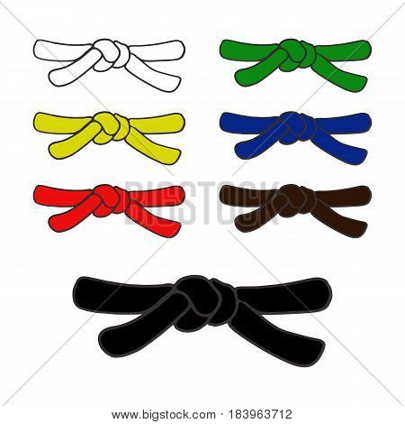 martial arts black and color belts icons set