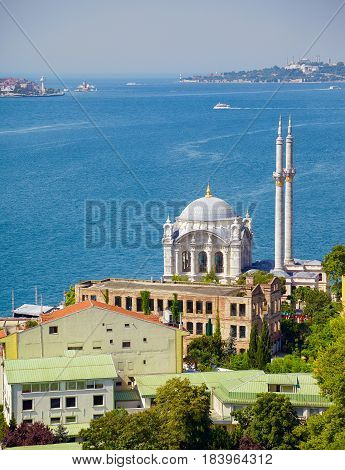 The View Of Ortakoy Mosque Against The Bosphorus Background.  Istanbul