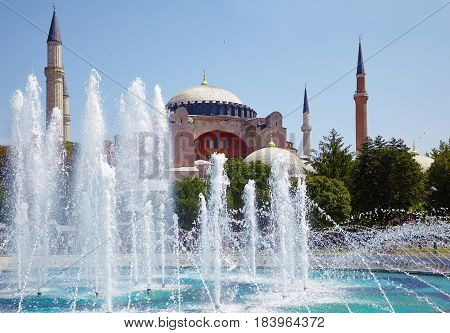 Hagia Sophia With The Fontain In Front Of It, Istanbul.