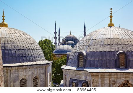 The View From The Window Of Hagia Sophia To The Blue Mosque, Istanbul