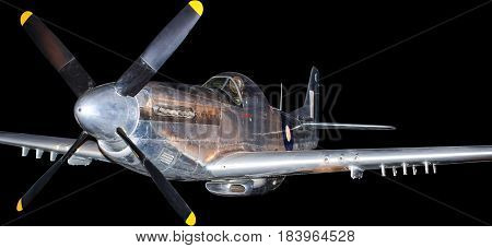American P-51 fighter plane from Korean War, isolated on black