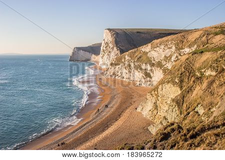 Winter coastline of the Jurassic coast at Lulworth Cove