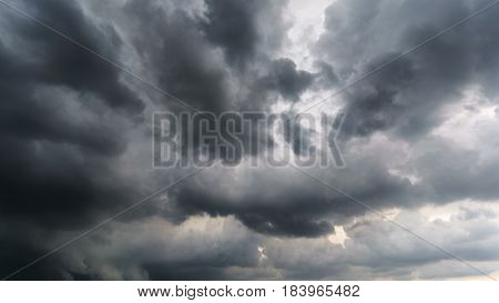 Scary dark rain clouds before thunderstorm background